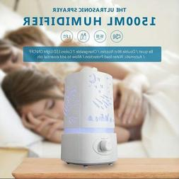 1500ml Ultrasonic Portable Air Humidifier Aroma Oil Mist Dif