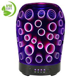 COOSA 100ml 3D Circle Pattern Essential Oil Diffuser, with 4