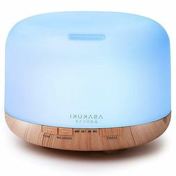 Asakuki 500ml Oil Aroma Diffuser Air Mist Humdifier LED Ultr