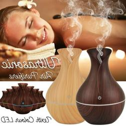 7 Color Aroma Essential Oil Diffuser Wood Grain Aromatherapy