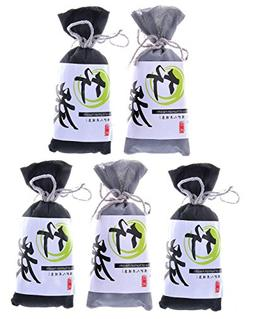 5 Pack Natural Air Purifying Bamboo Charcoal Bags Removes Od