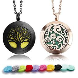 2 Pack Premium Aromatherapy Essential Oil Diffuser Necklace