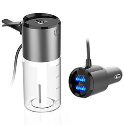 Car Humidifier, SUBLE Dual USB Charger Diffuser Essential Oi