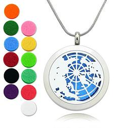 Essential Oil Diffuser Necklace Stainless Steel Globe Locket