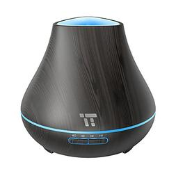 TaoTronics Essential Oil Diffuser, 400ml Black Wood Grain Ar