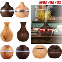 Electric LED Humidifier Wood Purifier Mist Aroma Essential O