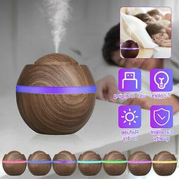 Essential Oils Diffusers Wood Grain 500ml Mist Humidifier w/