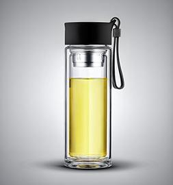 iRSE Tea Infuser Bottle Double Wall Glass Tumbler with moder