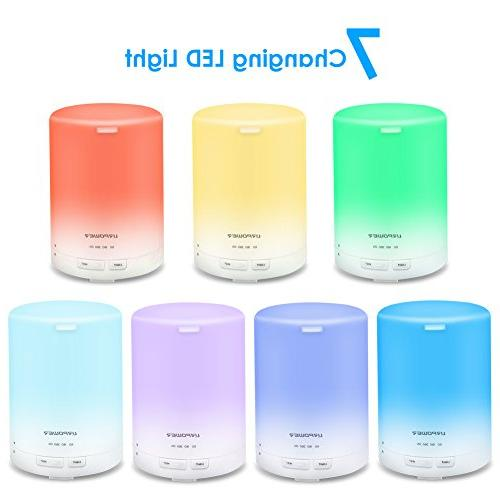 URPOWER 2nd Aroma Essential Oil Ultrasonic Humidifier AUTO Shut off 6-7 HOURS Continuous - LED 4 Timer