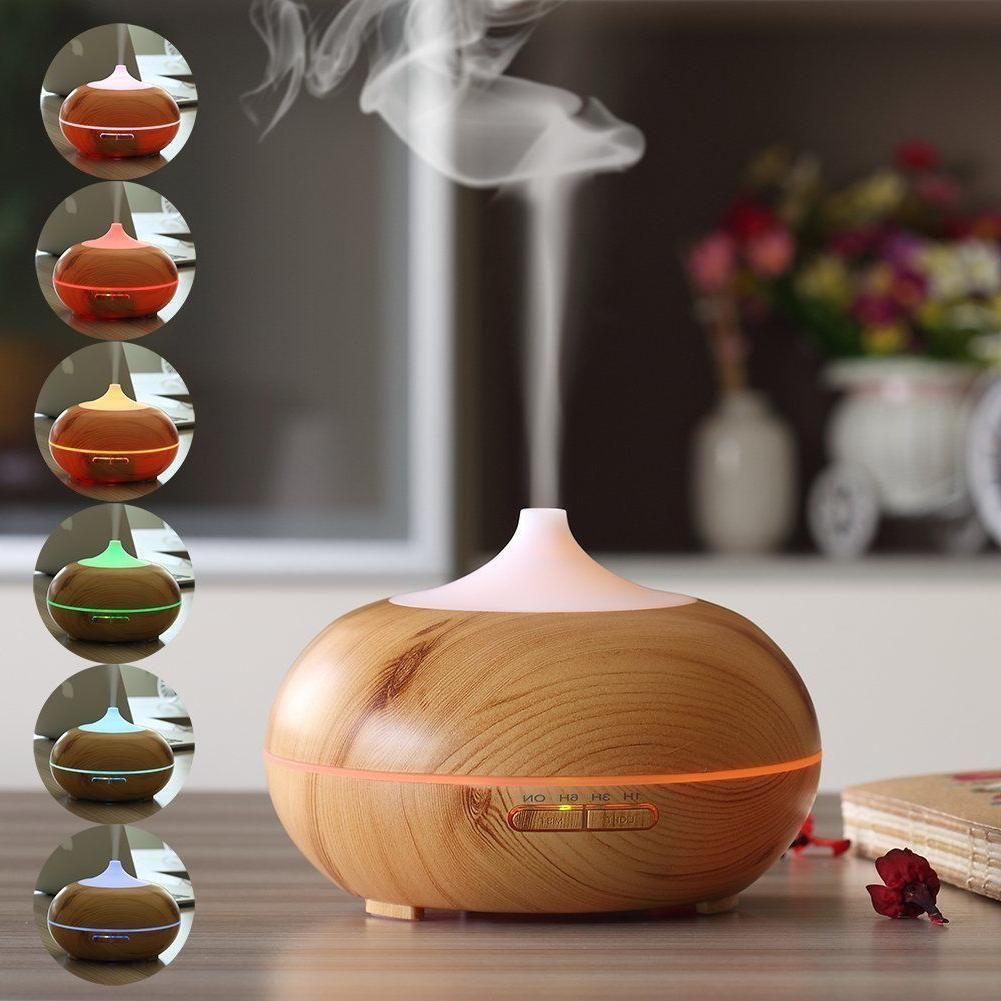 URPOWER 300ml Essential Oil Diffuser Wood Grain Ultrasonic M