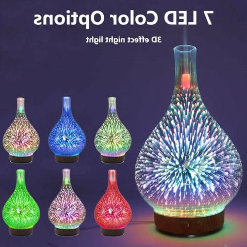 7 Color 3D Firework Glass Essential Aroma Diffuser LED Humidifier
