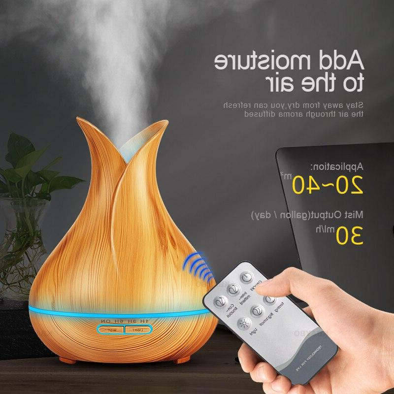 Ultrasonic 400ml Aroma Essential <font><b>Oil</b></font> <font><b>Diffuser</b></font> with <font><b>Wood</b></font> Color Changing for