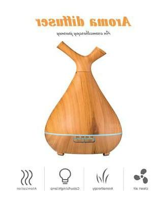 400ml Humidifier Essential Oil Diffuser Wood Grain