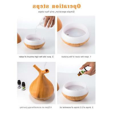 400ml Ultrasonic Humidifier Essential Oil Wood Grain Hu