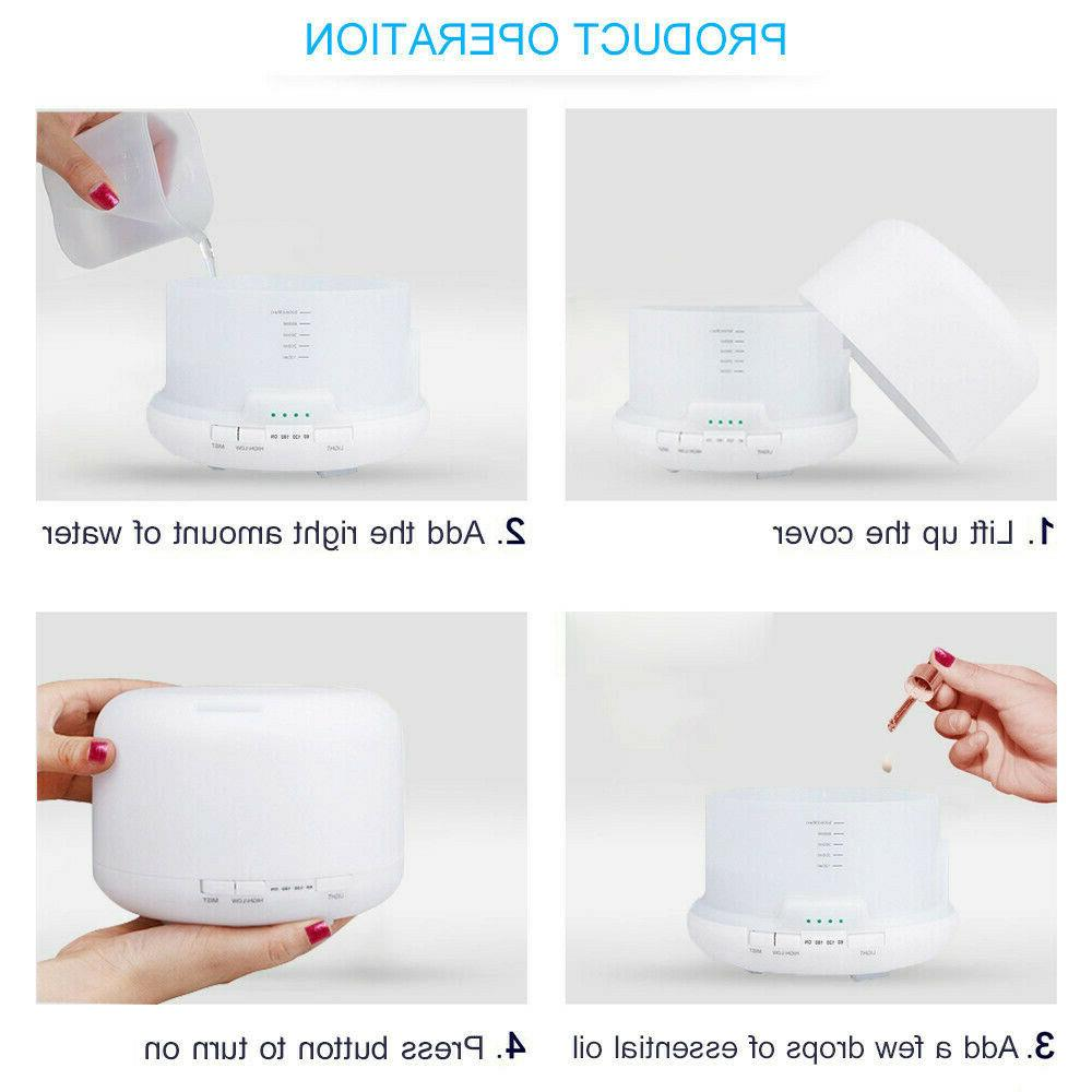 500ML Essential LED Humidifier Aromatherapy Air Purifier
