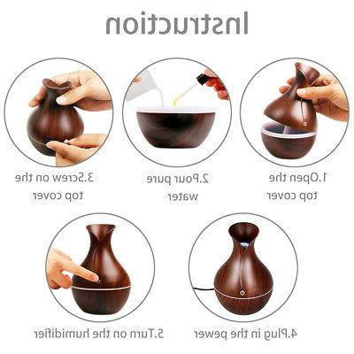 7 Color Aroma Oil Wood Aromatherapy Humidifier 130ML