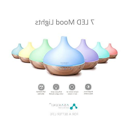 ASAKUKI Oil 5-in-1 Humidifier, Natural Home Diffuser with 7 Color Easy