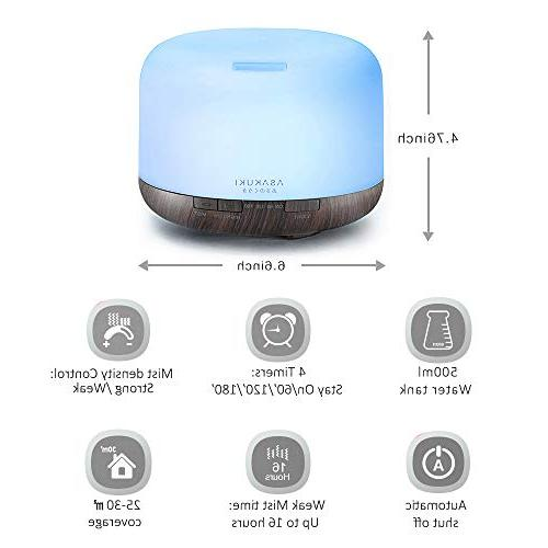ASAKUKI Oil 1 Fragrant Oil Humidifier, and Auto-Off Safety 7 LED Light