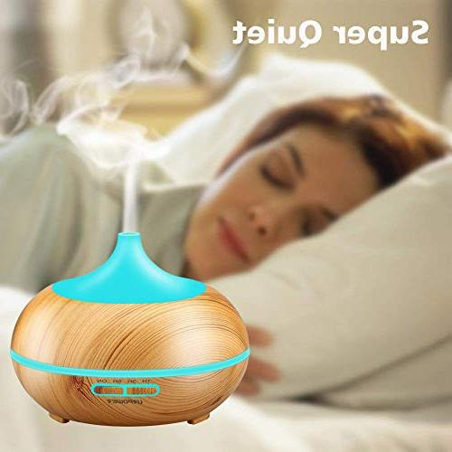 URPOWER Aromatherapy Diffuser 300mlWood Cool Mist Whisper-Quiet Humidifier with Color LED Lights Changing & 4 Settings, for Spa