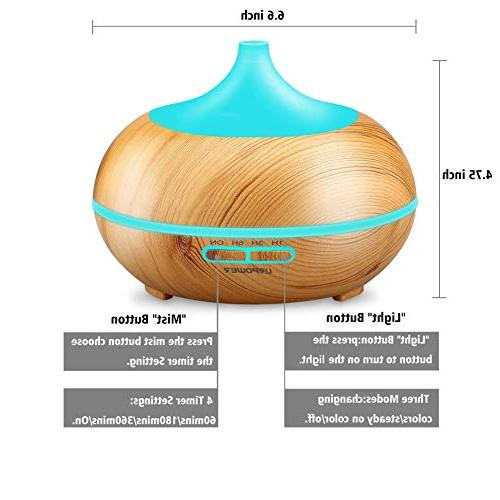 URPOWER Essential Diffuser 300mlWood Grain Cool Mist Humidifier with Color LED Lights Changing & Settings, for Spa Baby Home