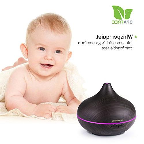 Oil Wood Aroma Diffusers Mist Humidifier with Timer Mist Color Changing Night Waterless Shut-off Yoga