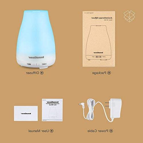InnoGear Version Essential Ultrasonic Diffusers Humidifier with Colors LED Lights and Waterless Auto Shut-off Home Bedroom