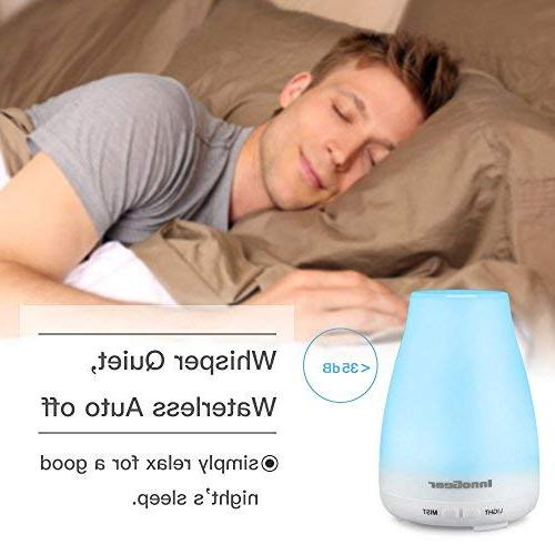 InnoGear 2nd Essential Oil Diffuser Diffusers Cool Mist with 7 Colors Lights Shut-off Bedroom Room