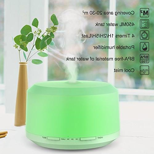 Essential Oil 450ml Aromatherapy Oils Cool Mist Humidifiers 8 Color LED Lights,Waterless Mist & Timer Setting For