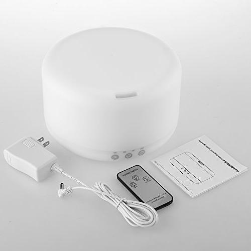 URPOWER 1000ml Diffuser Humidifiers Remote Control Ultrasonic Decor Running with Adjustable Mist Auto Shut-Off & Color LED Lights