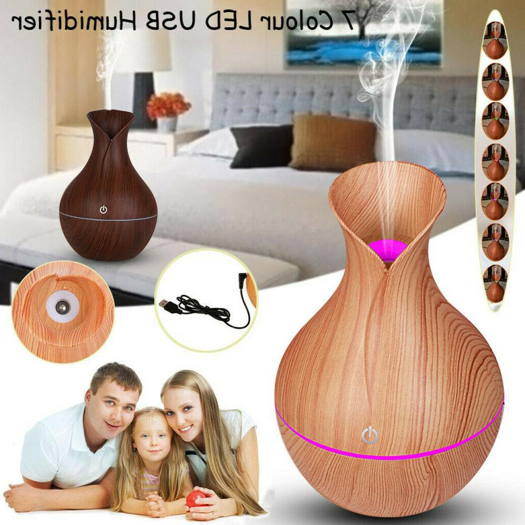7 color aroma essential oil diffuser wood