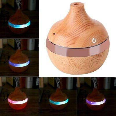 LED Wood Humidifier Essential Aromatherapy Air