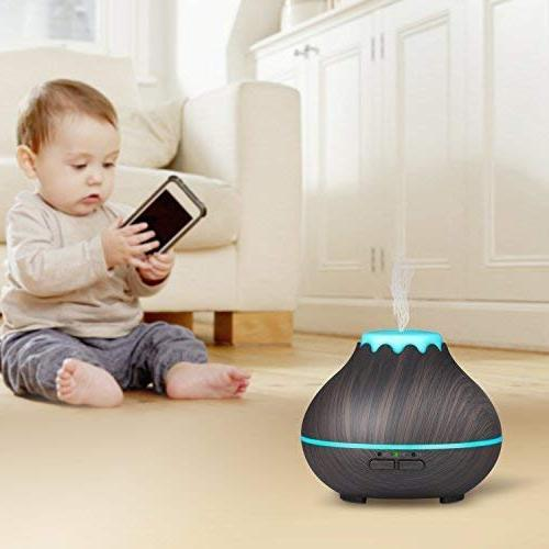 Mini Diffuser,OliveTech Ultrasonic Mist Humidifier with LED Changing and Waterless Auto Shut-off for Office, Room,Home,Bedroom- Wood