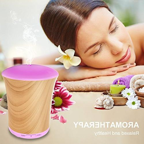 Essential Diffuser Wood Grain,Neloodony 200ML Aromatherapy with LED Mode Auto-off Home Spa