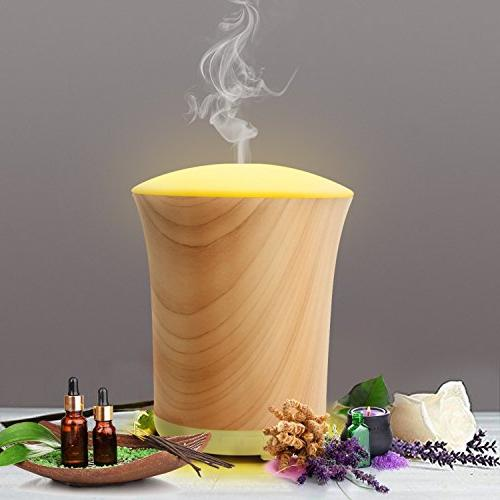 Essential Diffuser Wood Grain,Neloodony 200ML Aromatherapy Colors Lights Adjustable Mode for Home