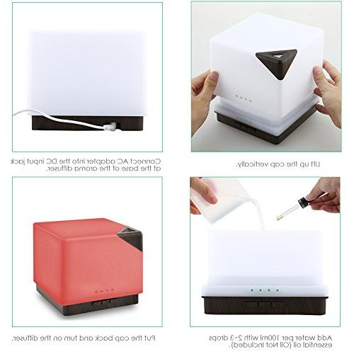 URPOWER 700ml Square Essential Diffuser Large Capacity Ultrasonic Aroma Diffusers Hours 7 Color for Office Study Yoga Spa