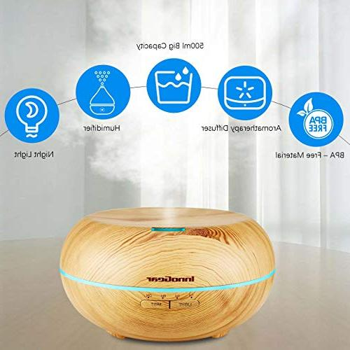 InnoGear Grain Aromatherapy Diffusers with 7 Color LED Waterless Shut-Off