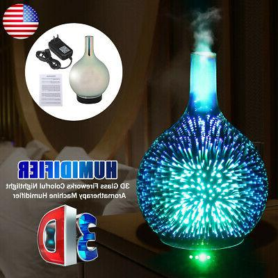 us 3d glass firework colorful led aromatherapy