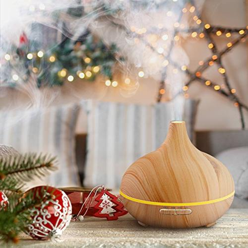 VicTsing 300ml Cool Humidifier Aroma Oil Home Living Study Yoga Wood