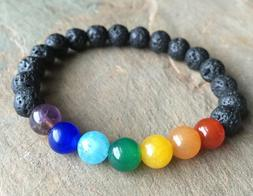 Lava Rock Chakra Diffuser Bracelet use with essential oils Y