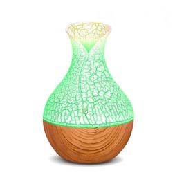 LED Color Change Wood Grain Crackle Small Vase USB Humidifie