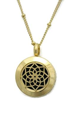 """Sacred Gold"" Small Lotus 316L Stainless Steel Essential Oil"