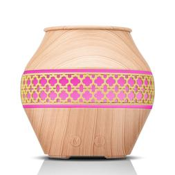 New Design Hollowed-up Wood Grain Essential Oil Diffuser Whi