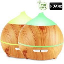 Oil Diffuser, Avaspot 2 Pack 250ml Wood Grain Essential Oil