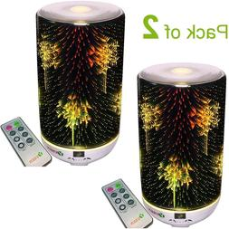 Pack of 2 Remote Glass Aroma Oil Diffuser with 7 color Led L