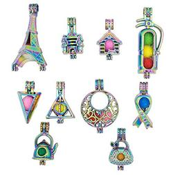 10pcs Rainbow Eiffel Tower House Pearl Cages Pendant Essenti