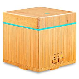 URPOWER Real Bamboo Essential Oil Diffuser 300ml Square Ultr