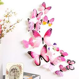 FimKaul 12Pcs Removable 3D Butterfly Wall Stickers Decals DI