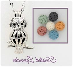 Small Owl Essential Oil Aromatherapy Diffuser Necklace with