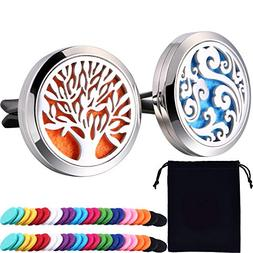 Tatuo 2 Pieces 316L Stainless Steel Car Aromatherapy Essenti