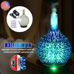 US 3D Glass Firework Colorful LED Aromatherapy Essential Oil